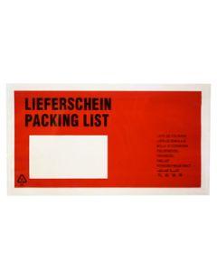 Begleitpapiertasche Rot, DIN C6, mit Aufdruck Lieferschein