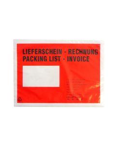 Begleitpapiertasche Rot, DIN C5, mit Druck Lieferschein/Rechnung