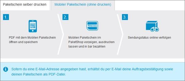 Paket online als mobilen Paketschein beschriften